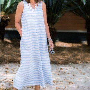 J Jill Love Linen Striped Maxi Tank Dress